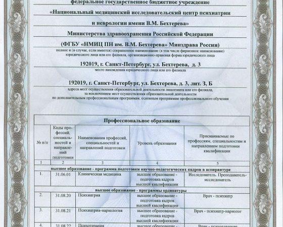 Лицензия на образовательные услуги Приложение 1